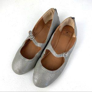 Lucky Brand Silver Ballet Flats zippers sz 8